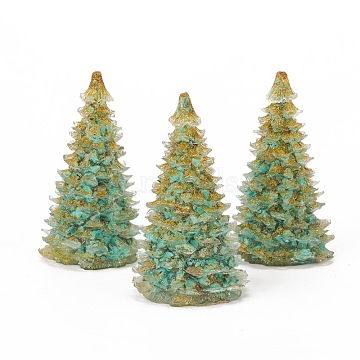 Synthetic Turquoise Home Display Decorations, with Resin and Glitter Powder, Christmas Tree, 92x52mm(DJEW-I013-A05)