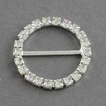 Shining Wedding Invitation Ribbon Buckles, Brass Grade A Rhinestone Garment, Dress Slide Buckles, Ring, Silver Color Plated, Crystal, 26x3mm, Hole: 20x10mm(RB-S019-22)