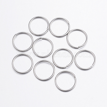 304 Stainless Steel Close but Unsoldered Jump Rings, Stainless Steel Color, 18 Gauge, 12x1mm; Inner diameter: 10mm; about 45pcs/10g(X-STAS-P151-05)