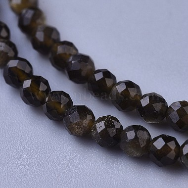 Natural Golden Sheen Obsidian Beaded Necklaces(NJEW-K114-A-A19)-2