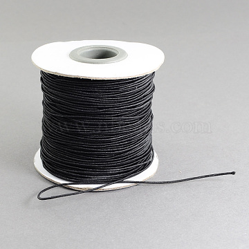 Round Elastic Cord, with Nylon Outside and Rubber Inside, Black, 0.8mm; about 100m/roll(EC-R001-0.8mm-038A)