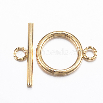 304 Stainless Steel Toggle Clasps, Golden, Ring: 21x16x2mm, hole: 3mm, Bar: 23x7x2mm, Hole: 3mm(X-STAS-H380-05G)
