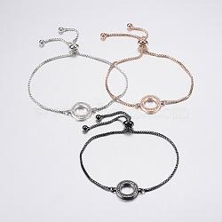 """Bracelets bolo extensibles en laiton avec zircon cubique de micro pavé, Bracelets coulissants, avec des chaînes de boîte en laiton, anneau, couleur mixte, 10-1/4"""" (260 mm)(BJEW-F302-17)"""