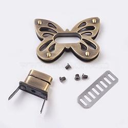 Zinc Alloy Bag Twist Lock Accessories, Handbags Turn Lock, with 4PCS Screws, Butterfly, Antique Bronze, 36x50.5x6mm(X-PALLOY-WH0012-03AB)