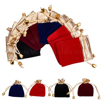 Pochettes à bijoux en velours nbeads®, sac-cadeau, avec des billes en plastique, couleur mixte, 9x7cm; perles: 1x1x1.5cm; 6pcs / couleur, 24 pièces / kit(TP-NB0001-03)