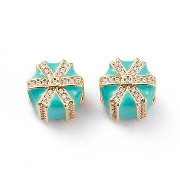 Real 18K Gold Plated Brass European Beads, Large Hole Beads, with Enamel and Micro Pave Cubic Zirconia, Long-Lasting Plated, Gifts Shape, for Christmas, Medium Turquoise, 11x9.4mm, Hole: 4.2mm(X-OPDL-L018-E02)