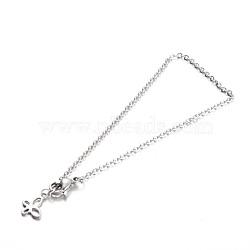 304 chaînes de câble en acier inoxydable bracelets, avec des breloques de papillon et fermoirs pince de homard, couleur inoxydable, 200x2mm(BJEW-L567-01P)