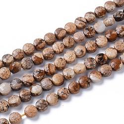 """Chapelets de perles en jaspe avec images naturelles, plat rond, facette, 6~7x4~5mm, trou: 0.8~1mm; environ 58~66 pcs/chapelet, 14.57""""~15.35"""" (37~39 cm)(G-L532-24)"""