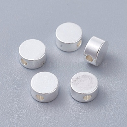 Brass Beads, Flat Round, Silver Color Plated, 6x3mm, Hole: 1.6mm(X-KK-I665-19S)