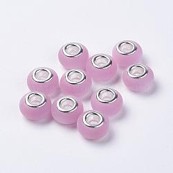 Perles européennes en alliage, avec doubles cœurs en laiton argenté, imitation d'oeil de chat, mat, rondelle, pearlpink, 14x8.5mm, Trou: 5mm(RPDL-K001-A10)