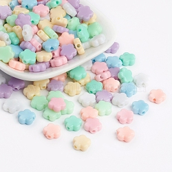 Opaque Acrylic Beads, Flower Beads, Mixed Color, 9x9.5x4mm, Hole: 2mm; about 227pcs/50g