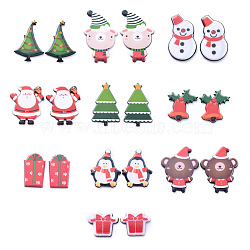 Painted Acrylic Cabochons, for Christmas Day, Gift Box & Bear with Hat & Penguin with Scarf & Bell & Santa Claus & Snowman & Christmas Tree, Mixed Color, 30.5x22x3.5mm, 20pcs/set