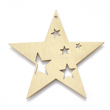 Aluminium Big Pendants, Laser Cut Big Pendants, Star, Golden, 50x47x1mm, Hole: 1.5mm(X-ALUM-T001-82G)