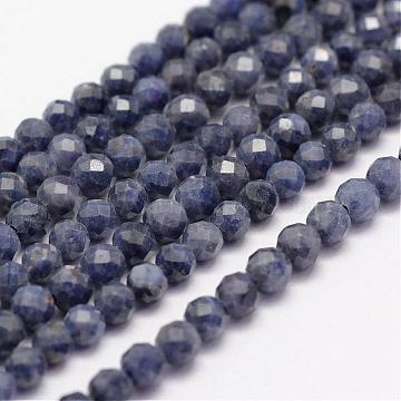 Natural Sapphire Beads Strands, Faceted, Round, Steel Blue, 3mm, Hole: 0.5~0.6mm, about 122~130pcs/strand, 15~15.5 inches(39cm)(G-F460-46)