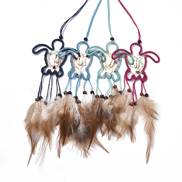Chicken Feather Handmade Woven Net/Web with Feather Big Pendants, with Natural Wood Beads, Natural Shell, Cotton and Waxed Cord, Turtle, Mixed Color, 180~220x80x5~6mm(AJEW-S080-001)