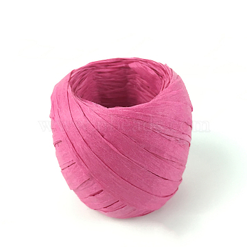 Paper Cords for DIY Jewelry Making, Paper Twine, Deep Pink, 5~7mm, about 21.87 yards(20m)/roll(X-OCOR-WH0009-A21)