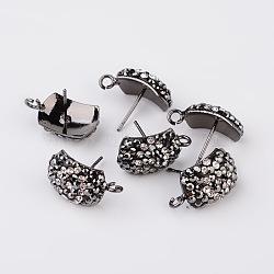 Accessoires de clou d'oreille avec strass rectangle en argile polymère, avec boucle, avec broches en acier, gunmetal, 17x10x5mm; broches: 0.7 mm; trou: 2mm(RB-K030-20)