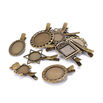 Vintage Iron Alligator Hair Clip Findings Set, with Alloy Cabochon Bezel Settings, Mixed Shapes, Antique Bronze, Tray: 16.5~30mm, 50~64x26.5~42.5x11.5~13.5mm(PALLOY-MSMC011-02)