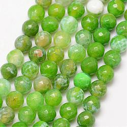 Natural Fire Agate Bead Strands, Round, Grade A, Faceted, Dyed & Heated, LawnGreen, 6mm, Hole: 1mm; about 61pcs/strand, 15inches