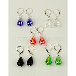 Boucles d'oreilles en verre, avec cerceau boucles d'oreilles en laiton, couleur mélangée, 36 mm(EJEW-JE00784)