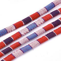 Cordes en tissu de style ethnique, avec cordon en coton à l'intérieur, colorées, 6.5~7x5 mm; environ 100 m / bundle(OCOR-S034-19)