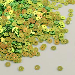 Perles de paillette de forme disque en plastique,accessoires ornement, plaqué perles arc de paillettes, lawngreen, 6mm, Trou: 0.5mm(PVC-Q014-6mm-T14)