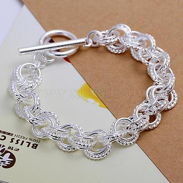 Unisex Brass Rope Chain Bracelets, with Toggle Clasps, Silver Color Plated, 205x10mm(BJEW-BB12454)
