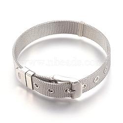 """304 bracelets de montres en inox, montre de la ceinture s'adapte breloques de glissière, couleur d'origine, 8-1/2"""" (21.5cm); 10mm(WACH-P015-02P)"""