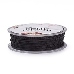 Polyester Braided Cord, with Metallic Cord, Black, 1mm; about 30m/roll(OCOR-G006-02-1.0mm-51)