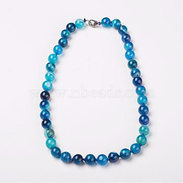 Natural Dyed Agate Beads Necklaces, with Brass Lobster Claw Clasps, Round, Blue, 18.9inches(48cm) long; beads: 6mm(NJEW-F139-6mm-14)