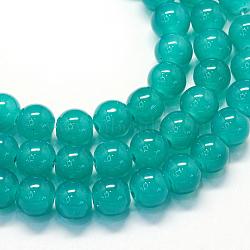 """Chapelets de perles rondes en verre imitation jade peint, darkcyan, 6.5mm, trou: 1.5mm; environ 145 pcs/chapelet, 31.8""""(X-DGLA-Q021-6mm-07)"""