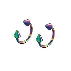 Bijoux de corps d'acier inoxydable, goujons nez, multicolore, 10x10.5x3mm; diamètre intérieur: 8 mm; broche: 1mm(AJEW-TA0016-02O)