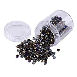 Plated Glass Seed Beads, Round Hole, Cube, Black Plated, 3~7x3x3mm, Hole: 0.5mm; about 400pcs/box(SEED-JP0002-C02)