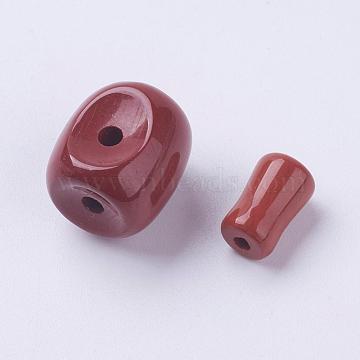 Natural Red Jasper 3 Hole Guru Beads, T-Drilled Beads, Barrel, 15x14x13.5mm, Hole: 2.5mm; 11x7mm, Hole: 2mm(G-K218-02)
