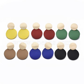 Spray Painted Environmental Iron Clip-on Earrings, Light Gold, Cadmium Free & Nickel Free & Lead Free, Flat Round, Mixed Color, 53mm(EJEW-T009-01-NR)