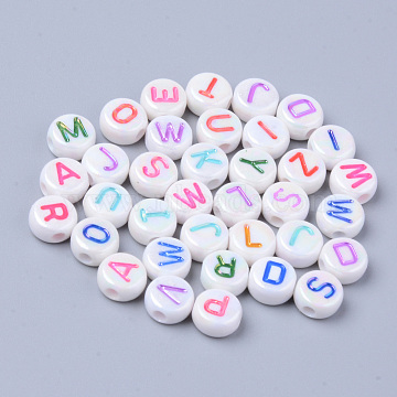 Opaque White Acrylic Beads, Metal Enlaced, Horizontal Hole, Flat Round with Letters, Mixed Color, 7x3.5mm, Hole: 1.8mm(X-MACR-S273-46)