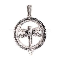 Pendentifs médaillon en alliage, avec magnétique, plat et circulaire avec libellule, argent antique, 43x35x16mm, Trou: 7x4mm(X-PALLOY-Q331-35AS)