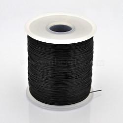 chaîne de cristal élastique plat, fil de perles élastique, pour la fabrication de bracelets élastiques, noir, 0.5 mm, sur 500 m / rouleau(EW-J002-0.5mm-10)