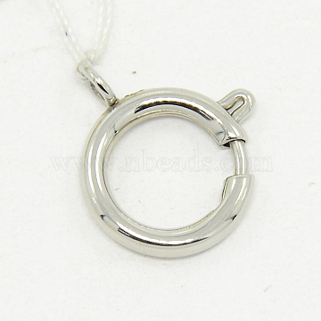 304 Stainless Steel Spring Ring Clasps, Manual Polishing, Necklace Design Materials, Stainless Steel Color, 10mm, Hole: 3mm(STAS-O040-B-04)