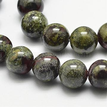 Natural Dragon Blood Beads Strands, Round, 10mm, Hole: 1.2mm; 38pcs/strand, 15.5inches(G-N0224-01-10mm)