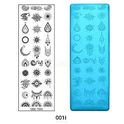 Stainless Steel Nail Art Stamping Plates, Nail Image Templates, Rectangle with Flower Pattern, Stainless Steel Color, 120x40mm(X-MRMJ-Q044-001I)