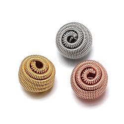 Perles de printemps en laiton de l'environnement, Perles de bobine, sans plomb & sans nickel & sans cadmium , rond, couleur mixte, 9x10mm, Trou: 2mm(KK-E711-005-NR)