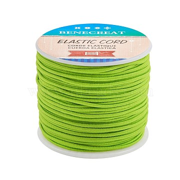 BENECREAT Elastic Cord, Polyester Outside and Latex Core, Lime Green, 2mm, about 54.68 yards(50m)/roll, 1roll/box(EW-BC0002-47)