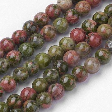 Natural Unakite Bead Strands, Round, 4~4.5mm, Hole: 1mm; about 85~90pcs/strand, 14.9 inches(38cm)(G-G735-67-4mm)