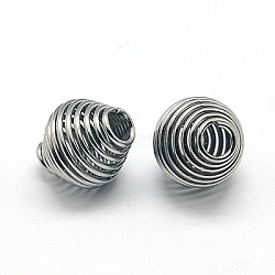 304 Stainless Steel Spring Beads, Coil Beads, Bicone, Stainless Steel Color, 11x10mm(STAS-E040-1)