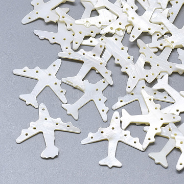 Freshwater Shell Airliner Filigree Joiners Links, Carved Passenger Airplane, Seashell Color, 26~27x28x1~1.5mm, Hole: 1~1.5mm(X-SHEL-S264-038)
