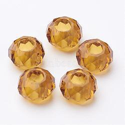 Fascinant rondelle de base pas de métal breloque d'or verre grand trou perles européennes s'inscrit bracelets et colliers, environ 14 mm de diamètre, épaisseur de 8mm, Trou: 5mm(X-GDA007-50)