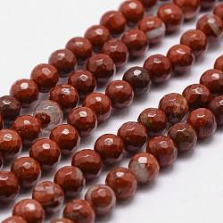 """Chapelets de perles en jaspe rouge naturel, grade AB +, facette, rond, 6mm, trou: 1mm; environ 61 pcs/chapelet, 14.9""""~15.1""""(G-G736-30-6mm)"""
