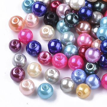 Glass Pearl Beads, Pearlized, Round, Mixed Color, 6mm, Hole: 1.2mm; about 180pcs/50g(X-HY-S003-6mm)