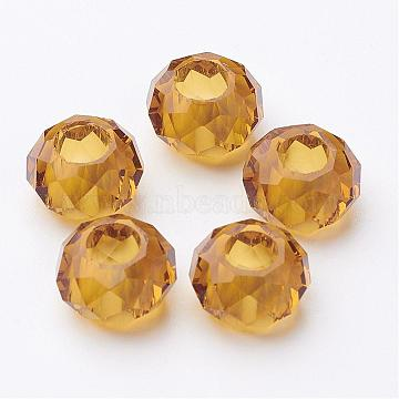 14mm Gold Rondelle Glass Beads